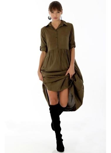 Emjey Gömlek Yaka Salaş Elbise Haki
